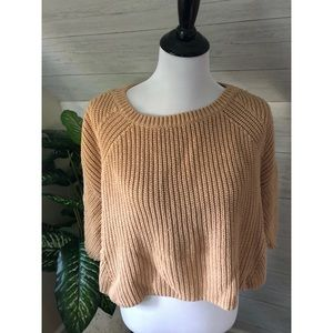 Free People tan cropped crew neck knit sweater